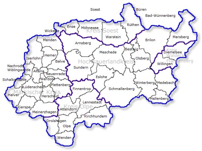 Sauerland Karte.Die Sauerland Karte